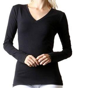 Zeana Outfitters Basic Black V-neck Long Sleeve T